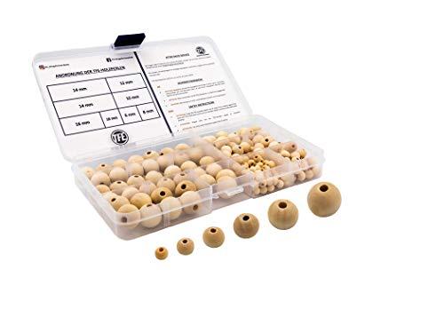 TFE Holzperlen Set 175 Stück Rund mit Box, DIY, Basteln, Perlenweben, Schmuckherstelleung, Bastelperlen, Makramee, Zubehör, 6 Größen (6mm, 8mm, 10mm, 12mm, 14mm) Holzkugeln, Nachhaltig