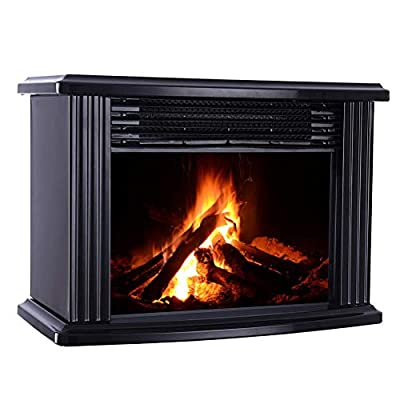 Oyria 1000W Portable Electric Fireplace Stove, Freestanding Electric Fireplace Fire Wood Log Burning Effect Flame Vintage Heater Stove Living Room Tempered Glass View