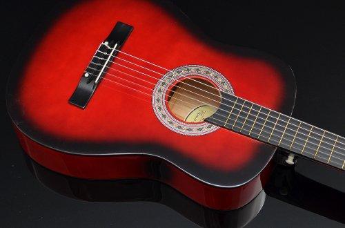 Ts-Ideen 5264 Akustik Gitarre Klassikgitarre Konzertgitarre mit Tasche, Gurt, Saiten und Plektrum rot/schwarz - 6