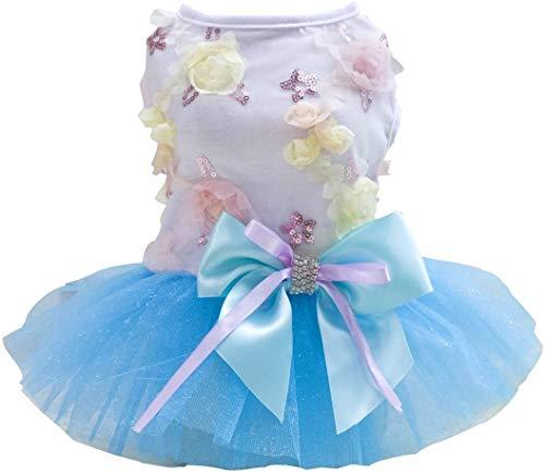 Vestido de Perro Falda de Cachorro Vestidos de Princesa para Perros Tutu Flor Boda Encaje Vestido de Lazo de Lujo para Perro Pequeño Niña (M,Azul)