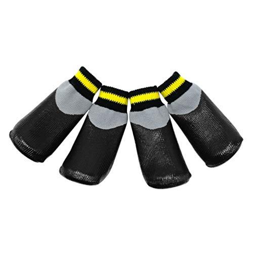 POPETPOP Botas para Perros Zapatos Impermeables para Perros Protectores Botines de Invierno con Calcetines Antideslizantes para Perros pequeños medianos Grandes - Negro (Talla 1)