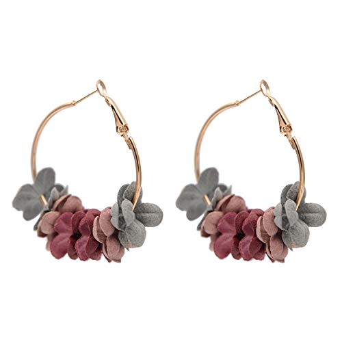 Super Cute Earing Fashion Fabric Flower Drop Earrings For Women 2019 Colorful Petal Circle Big Fancy Earring Jewelry,Colorful Flowers 22k Gold Fancy Ring
