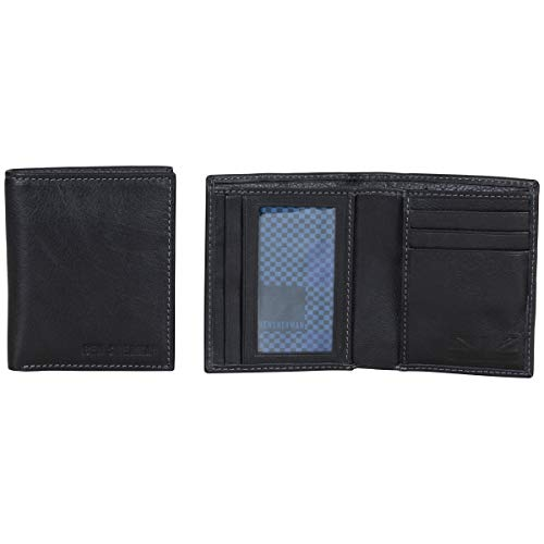 Ben Sherman Hendon Full-Grain Leather Anti-Theft RFID Bi-Fold Wallet with SD Card Slots & Hidden Coin Pocket, Black