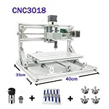 TopDirect CNC Router Engraving Machine, Working Area: 300 * 180 * 45mm, 3 Axis Mini Wood PCB PVC Milling Carving Machine + 10pcs CNC Router Bits + 4Sets CNC Plates