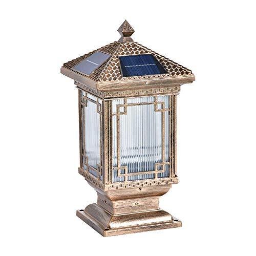 KAIKEA Linterna de Pilar de acrílico Solar para Exteriores de Bronce, decoración de Postes de Puerta Lámparas de Poste de Pilar Impermeables de Doble Uso, Enchufe eléctrico para Montaje en Exteriores