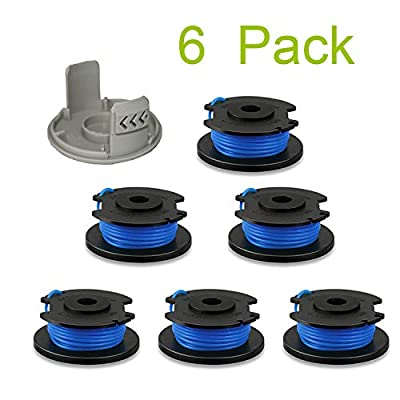 """Thten String Trimmer Spool Replacement for Ryobi One Plus AC14RL3A 18V 24V 40V 11ft 0.065"""" Auto Feed Cordless Weed Eater Spools Line with AC14HCA Cap Covers Parts (6 Spools, 1 Cap)"""
