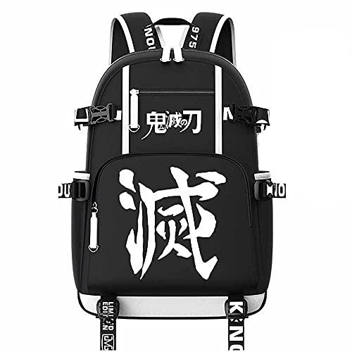Mochila escolar con capacidad grande para estudiantes, mochila con interfaz USB de Anime, para Kimetsu No Yaiba y Demon Slayer