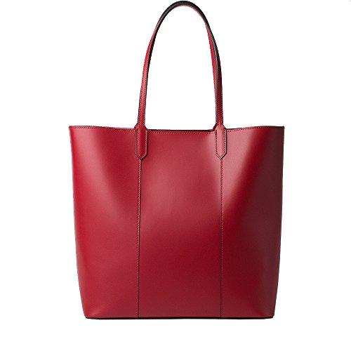 HONEY BAG Honig Tasche italienisches Leder Ruga Leder Damen Tasche Shopper mit Pochette–Dalida–Rot