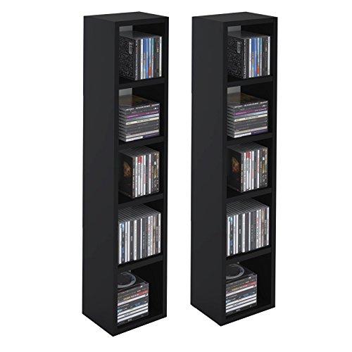 IDIMEX Etagères modulables Musique pour CD et DVD, Lot de 2 Meubles de Rangement en Colonne avec 10 Compartiments, en mélaminé Noir Mat
