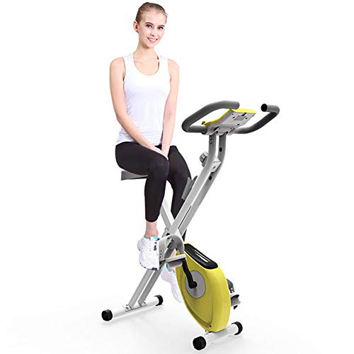ANBO Folding Exercise Bike, Adjustable Magnetic Resistance Bike Upright Weight Loss Fitness Bike with LCD Monitor Indoor Workout Equipment for Home Gym Aerobic Exercise