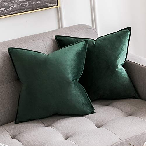 MIULEE Pack of 2 Velvet Soft Decorative Square Throw Pillow Case Flanges Cushion Covers Pillowcases for Livingroom Sofa Bedroom with Invisible Zipper 65cm x 65cm 26x26 Inch Set of Two Dark Green