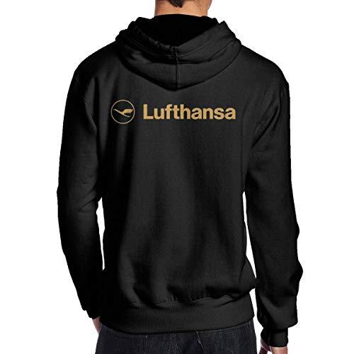 lifangtaoT Herren Hoodie Kapuzenpullover, Men's Lufthansa Logo Fashion Long Sleeve Hoodie Sweatshirt Hip Hop Pullover Black
