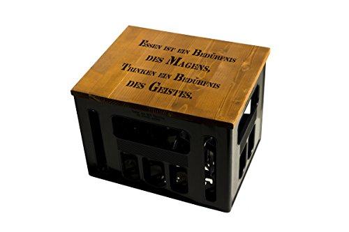ultiMade Bierkastensitz Holz Sitzauflage für Bierkiste Geschenkidee Geschenk für Männer Biergeschenk Hocker Holz: TRINKWEISHEIT