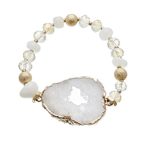 Pulsera con cuentas de ágata blanca y piedra de cuarzo druzy blanco - Jae W por Bello London