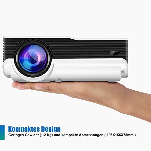 FunLites Video Projektor Full HD, Portable Mini Beamer, Native 1280x720P unterstützt 1080P, HDMI VGA AV USB kompatibel, Schwarzweiß - 5