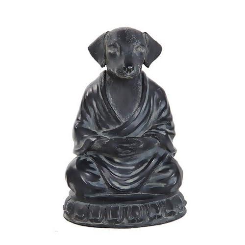 189b3617 Bellaa 29608 Dog Statue Zen Yoga Relaxed Pose Buddha Meditation Figurine 6  Inch