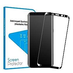 Vsllcau Protection d'écran Samsung Galaxy S8, 5.8 pouces Vitre Écran Film de 3D Incurvé en Verre Trempé Couverture Complète 3D Touch Ultra Résistant pour Galaxy S8 (Noir, 0.3MM)