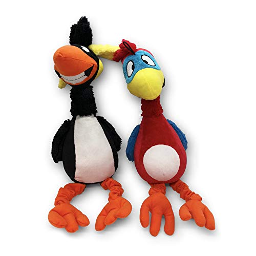 Pet Craft Supply Giggling Puffin & Parrot Multi Pack Interactive Dog Toys with Sound for Large Breed and Small Dogs Soft Chew Plush Dog Toy