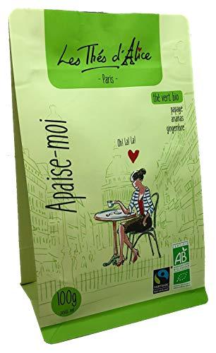 Les Thés d'Alice | Thé Vert Bio En Vrac à La Papaye, Ananas et Gingembre Confit | Apaise-moi | Made In France | Sachet de 100 gr | Certifié Agriculture Biologique Et Commerce Équitable