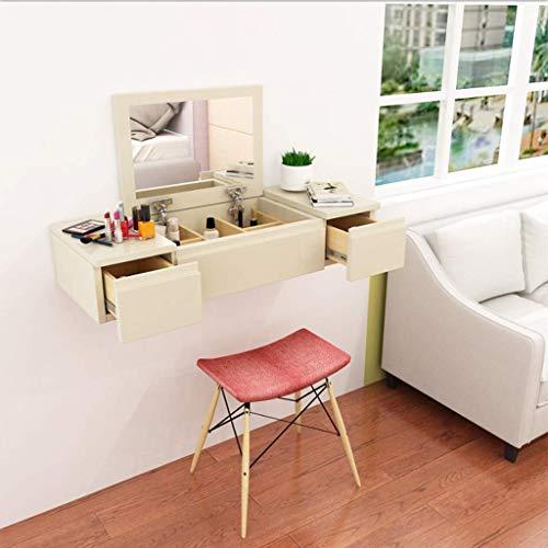 ZXYY meubelstuk voor wandmontage, wandrek, wandrek, make-uptafel, sieradenkast, cosmeticakast, slaapkamer, nachtkastje met lade van hout (kleur: witte dimen 100cm-beige