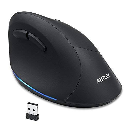 AUTLEY Wireless Vertical Mouse, 2.4G Optical Wireless Silent Ergonomic Mouse for Large Hands, for Laptop, Computer, Desktop, with Adjustable 800/1200/1600 DPI (Silent Click)