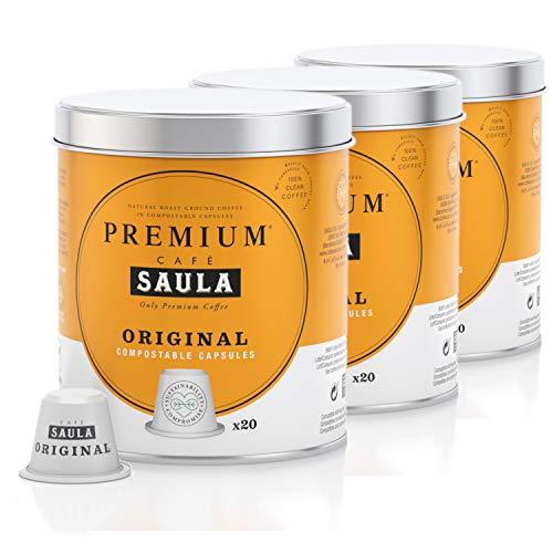 Saula Premium Original Kaffee Packung mit 3 Dosen mit 60 kompostierbaren Kapseln. Nespresso® kompatibel…