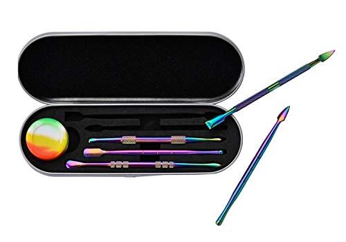 Kit Dabber x 5 Piezas DAB Metálicas Titanio & Recipiente Rosin 3 ml / Estuche Dabbing para Extracción - Resina - Cera - Accesorio bong / Herramientas 4,75 Inch Color Arcoiris