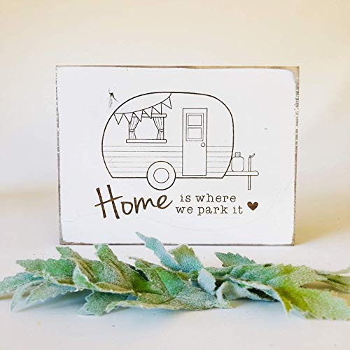 Etch & Ember Funny Sign Camper Home is Where We Park it - 5.5' x 7.5' x 3/4'