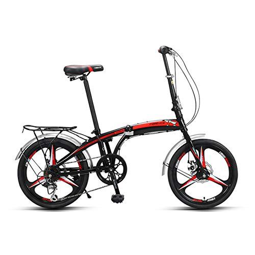 Bicicleta Plegable Para Adultos, Portaequipajes Trasero, Guardabarros Delanteros Y Traseros, Bicicleta De Ciudad De 7 Velocidades Fácilmente Plegable, Ruedas De 20 Pulgadas, Freno De Disco,Negro