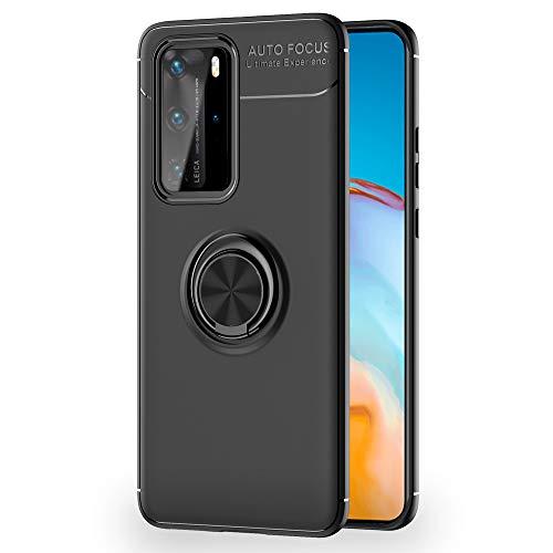 NALIA Ring Handyhülle kompatibel mit Huawei P40 Pro Hülle, TPU Silikon Cover mit 360-Grad Finger-Halter für magnetische KFZ-Halterung, Schutzhülle Phone Hülle Handy-Tasche Etui Bumper, Farbe:Schwarz