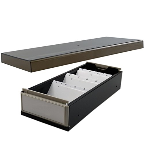 SFQMT Business Card Holder Organiser Box with Dividers and Index Tabs for 500 Ca