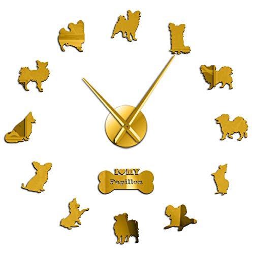 yage Toy Spaniel Papillon Perro Pegatina de Pared sin Marco Reloj de Pared Grande Moderno Reloj de Pared Regalo de inauguración de la casa para dueños de Perros