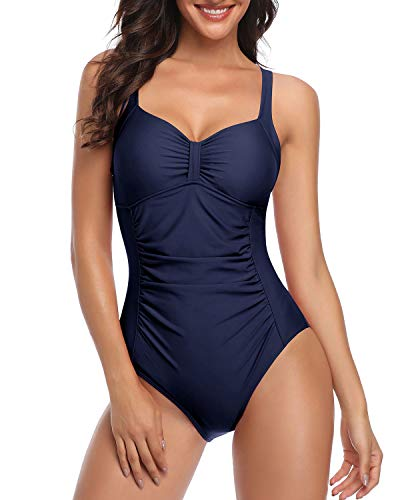Tempt Me Women Navy Blue Ruched Slimming One Piece Swimsuits Tummy Control Vintage Bathing Suits XXL