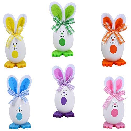 JPYZ 6 Huevos de Pascua,Adornos de Conejito de Pascua Regalos de Fiesta de decoración,Huevos de Pascua Manualidades Juguetes Favores de Partido (Multicolor)