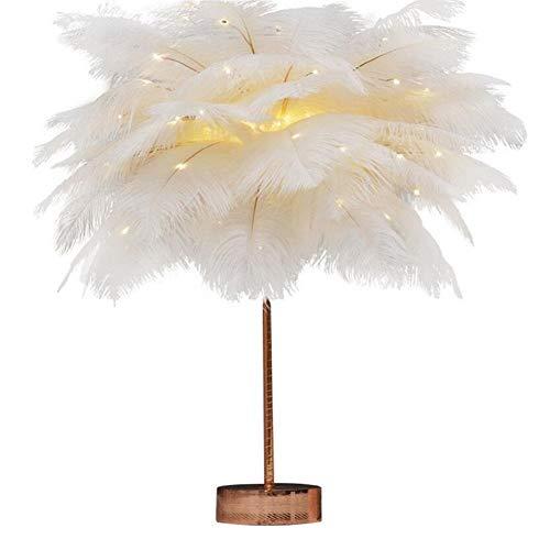 JUNGEN Feder Tischlampe Feder Lampe Feder Schlafzimmerlampe Feder Nachttischlampe Federlampe LED Nachttisch Lichter für Schlafzimmer Wohnzimmer Hochzeit mit Fernbedienung (Weiß)