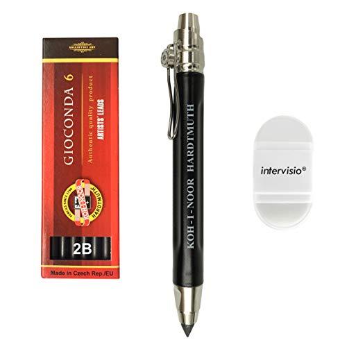 Koh-I-Noor 5311 Portamina 5,6 mm con Clip, Metallo, colore Nero, con Temperino + 1 Set Koh I Noor 2B Mine per Portamine Matite + intervisio Temperamatite   Gomma de Cancelare