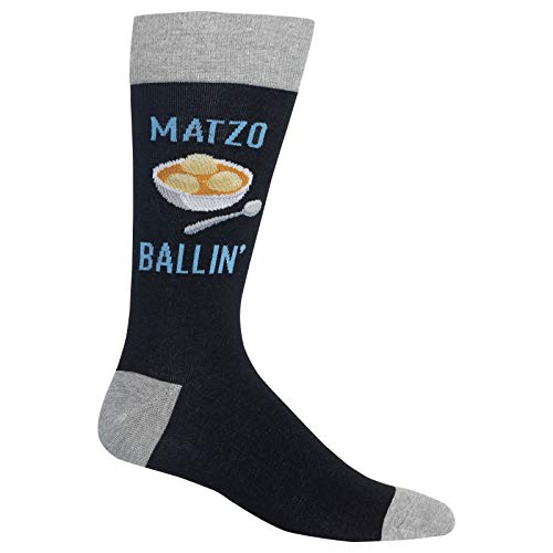 HotSox Mens Matzo Ballin Socks, Black, 1 Pair, Mens Shoe 6-12.5