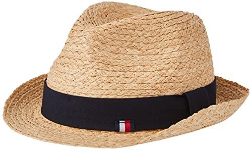 Tommy Hilfiger Herren Straw HAT Hut, Natürlicher Stroh, Einheitsgröße