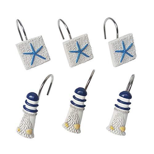BayQian Set of 12 Decorative Shower Curtain Hooks, Coastal Starfish Lighthouse Resin Curtain Rings (Style B)
