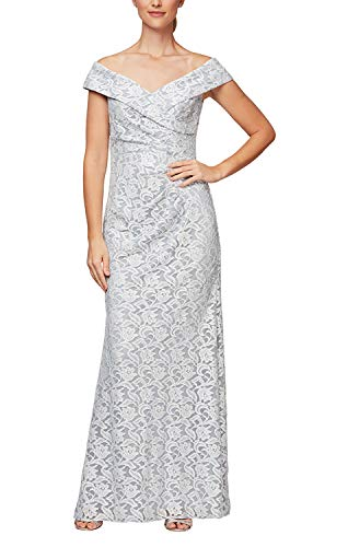 Alex Evenings Women's Long Off The Shoulder Fit and Flare Dress, Hydrangea Lace, 10