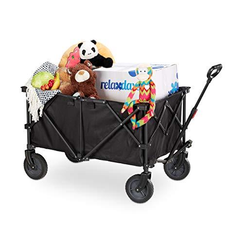 Relaxdays Bollerwagen faltbar, verstellbarer Griff, strapazierfähiges PVC, 360° drehbar, Handwagen Gummireifen, schwarz