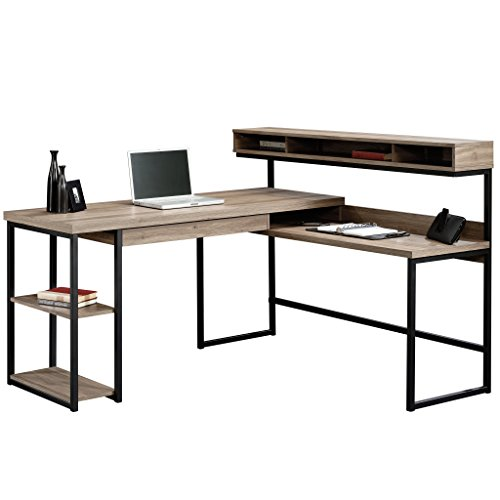 Sauder Transit L-Desk, Salt Oak finish