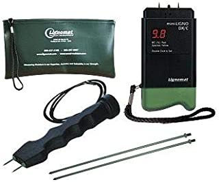Lignomat D-4P, Mini-Ligno DX/C Moisture Meter with E14 Electrode, 1 Pair Pins, 1 Kit