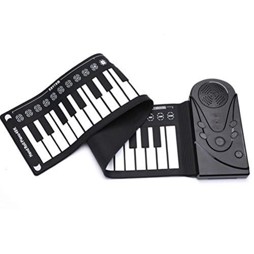 QCQ 49 Claves de Teclado de Piano Digital electrónico portátil de Mano Roll Up Piano con Silicona Teclado de Piano for Principiantes, una función de Altavoz (Color : Black)