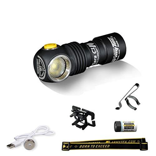 Armytek Tiara C1 Pro XP-L Kalt LED-Stirnleuchte mit Magnet-USB-Ladegerät und 18350 Li-Ion Akku