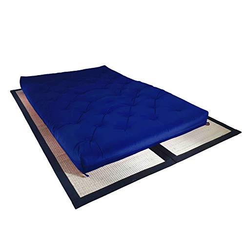 Colchão futon casal dobrável sofa cama azul royal