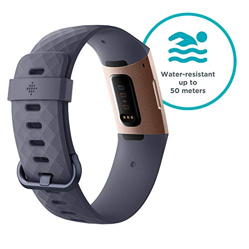 Fitbit Charge 3 Advanced Fitness Tracker with Heart Rate, Swim Tracking & 7 Day Battery - Rose-Gold/Grey, One Size