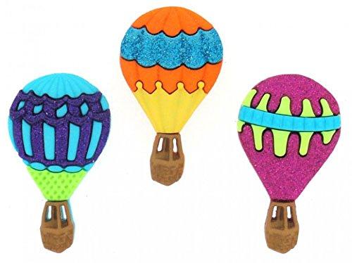 Diseño de con texto en inglés e instrucciones para hacer vestidos con forma de botón paquetes - globos aerostáticos