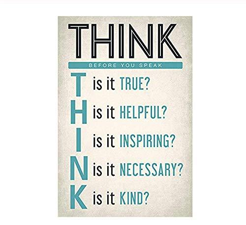 HYTGF Sticker Mural Réfléchissez Avant de Parler en Classe, Lecture et écriture, Affiche pour la Maison, décoration Murale, Sticker Mural