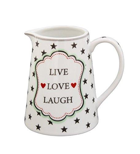 Krasilnikoff - Milchkännchen, Milchgießer, Creamer - Text: Live, Love, Laugh - Farbe: Grau mit Sternen - Porzellan